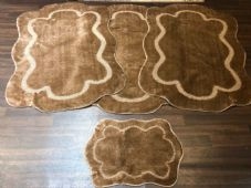 ROMANY WASHABLES CARVED DESIGNS SET OF 4 MATS XLARGE SIZE 100X140CM DARK BEIGE